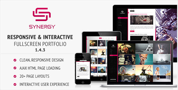 Synergy - Responsive & Interactive HTML Portfolio professional website template