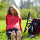 Girl cyclist barefoot enjoying relaxation - PhotoDune Item for Sale