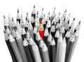 One bright color smiling pencil among bunch of gray sad pencils - PhotoDune Item for Sale