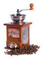 manual coffee grinder with coffee beans isolated on white background - PhotoDune Item for Sale