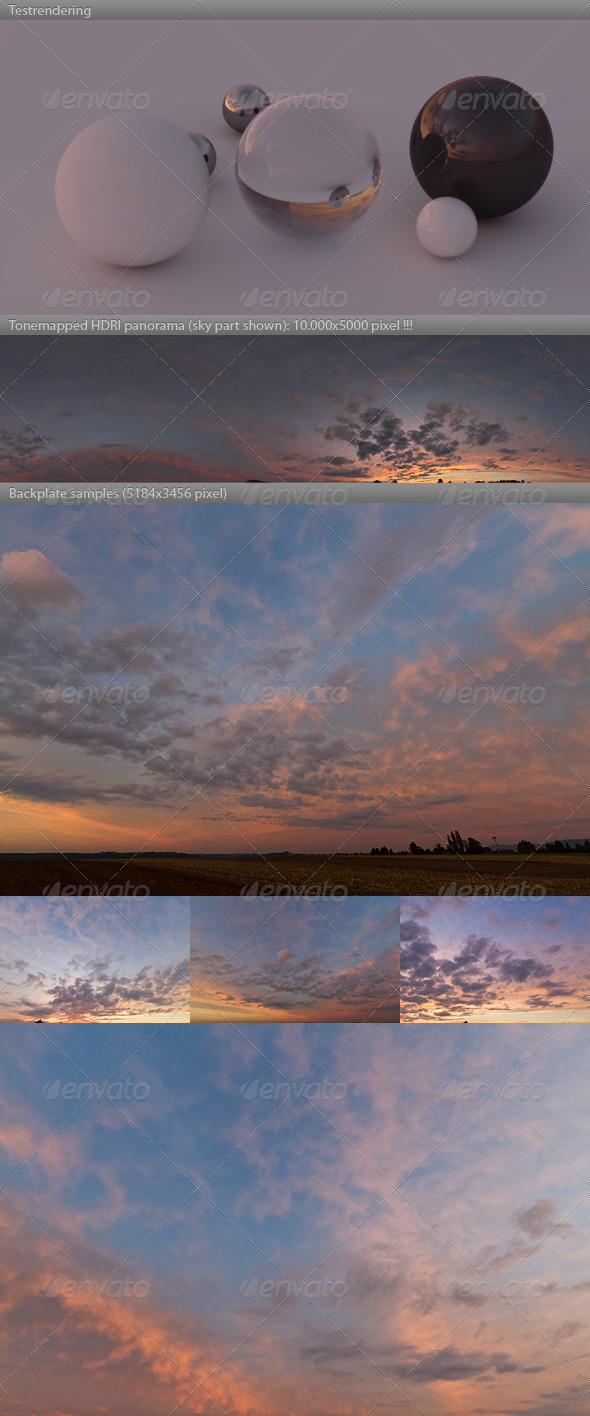 3DOcean HDRI spherical sky panorama 1900- red evening sky 4661595