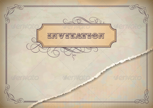 GraphicRiver Vintage Invitation Design with Label Text Frame 4639511