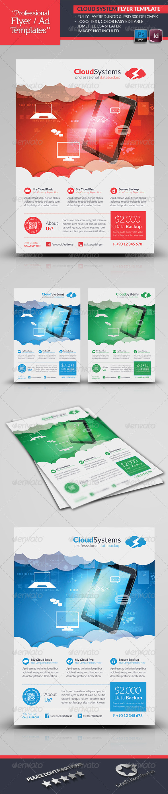 GraphicRiver Cloud Systems Flyer Template 4662371