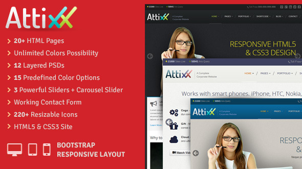 Attixx - Responsive Corporate HTML Theme - Corporate Site Templates