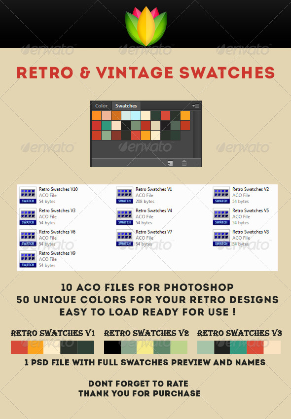Retro Swatches Palette - Photoshop Add-ons