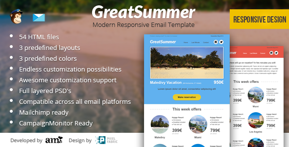 GreatSummer - Responsive Clean Email Template - Newsletters Email Templates