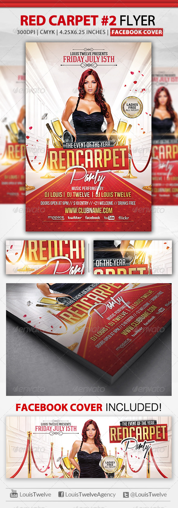 GraphicRiver Red Carpet Party 2 Flyer & Facebook Cover 4589637