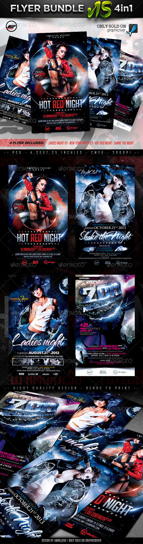 Flyer Bundle Vol15 - 4 in 1 - Clubs & Parties Events