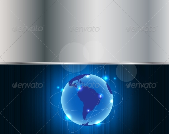 GraphicRiver Abstract Metal Connection Concept Earth Background 4666572