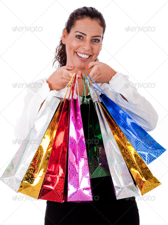 Close up of Happy Young woman with shopping bag - Stock Photo - Images