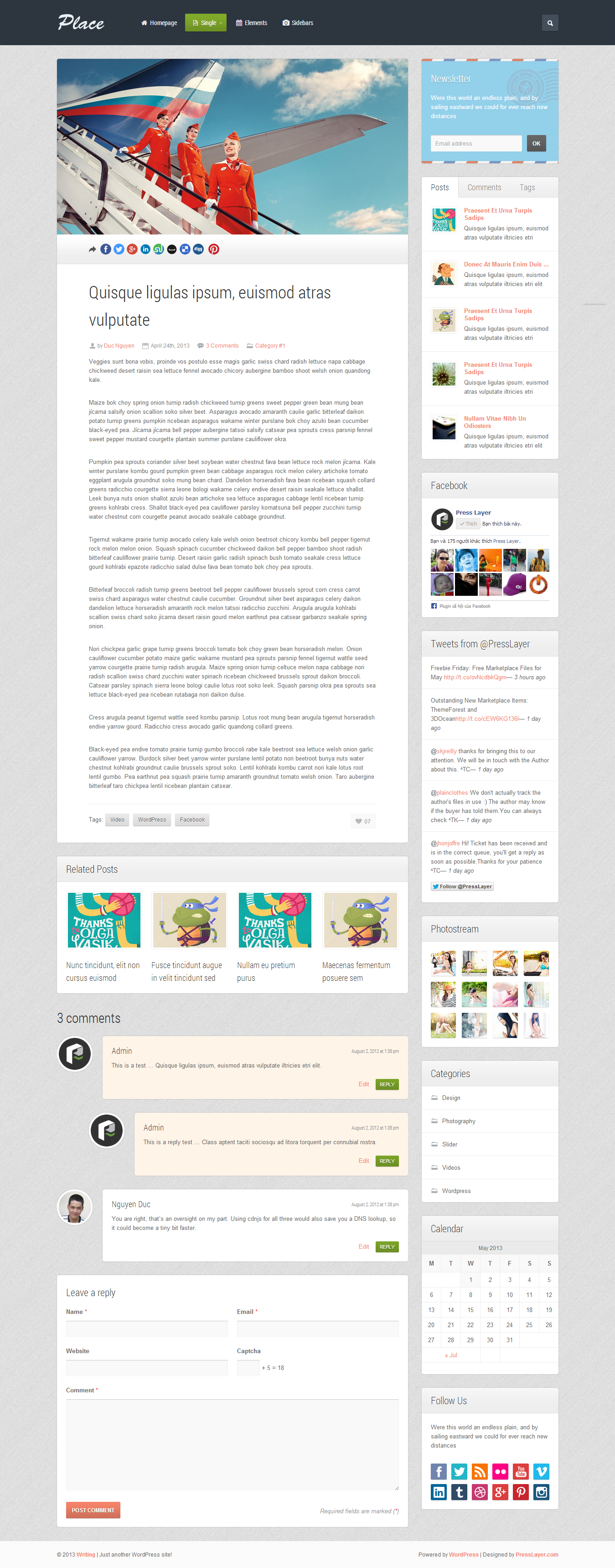 Place - Full Responsive HTML Template - 02_Single.png Screenshot of single post