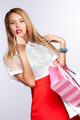 woman with red lips and bag - PhotoDune Item for Sale