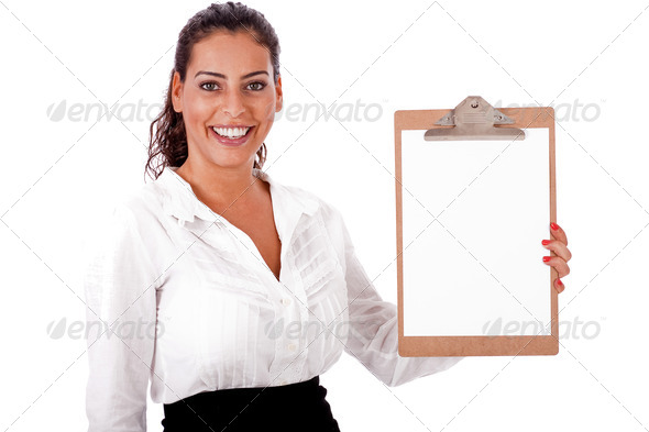 Lovely woman  holding  blank Clip board - Stock Photo - Images