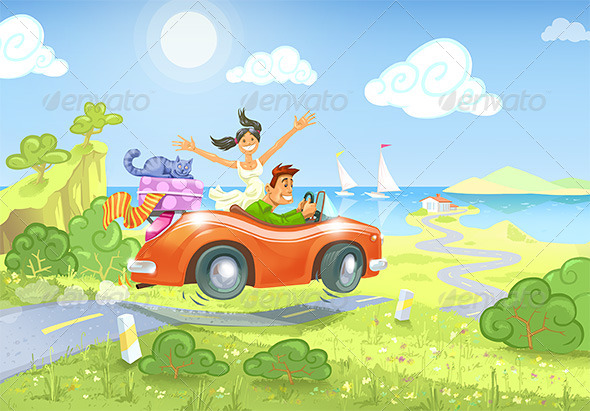 Driving to the Sea - People Illustrations
