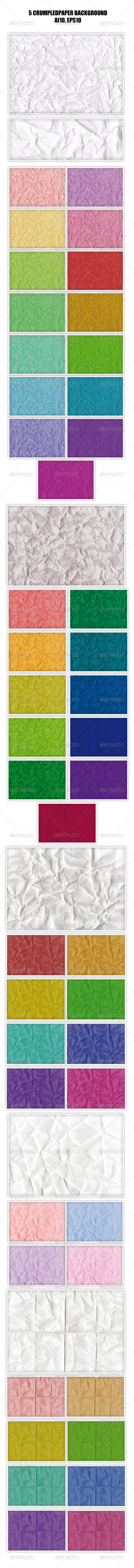 GraphicRiver 5 Crumpled Paper Backgrounds 4669194