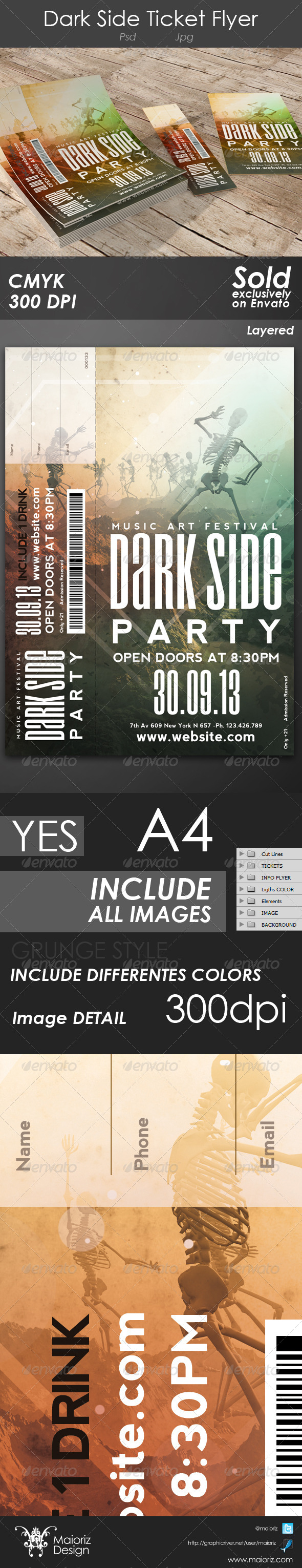 Dark Side Ticket Flyer - Miscellaneous Print Templates