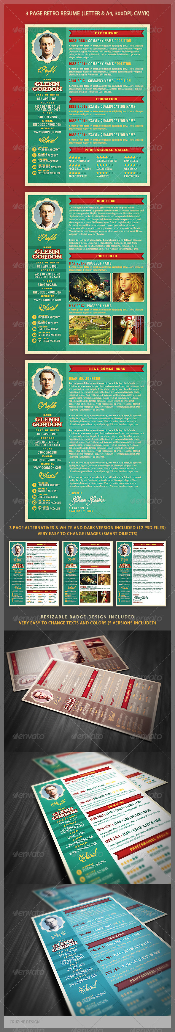 GraphicRiver Retro Resume Template 4669864