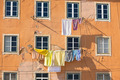 Washing hanging outside an old building of Lisbon, Portugal - PhotoDune Item for Sale