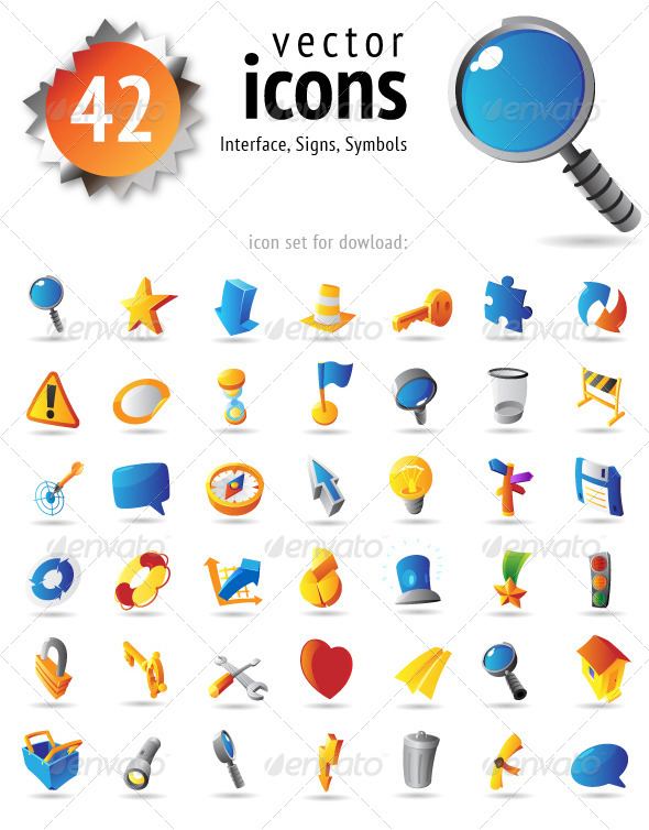 GraphicRiver Vector Icons for Interface Signs and Symbols 4631572