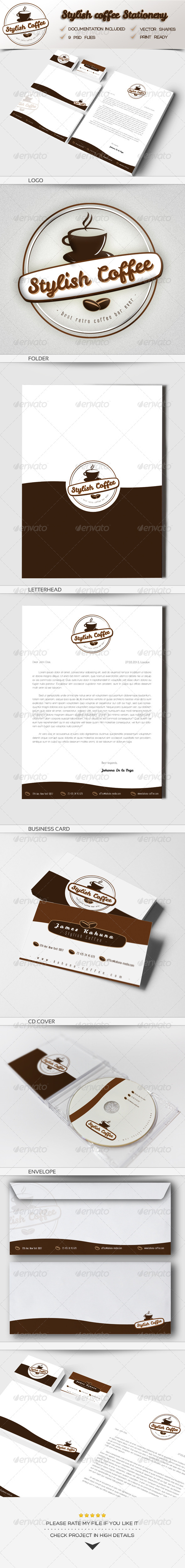 GraphicRiver Stylish Coffee Stationery 4672590