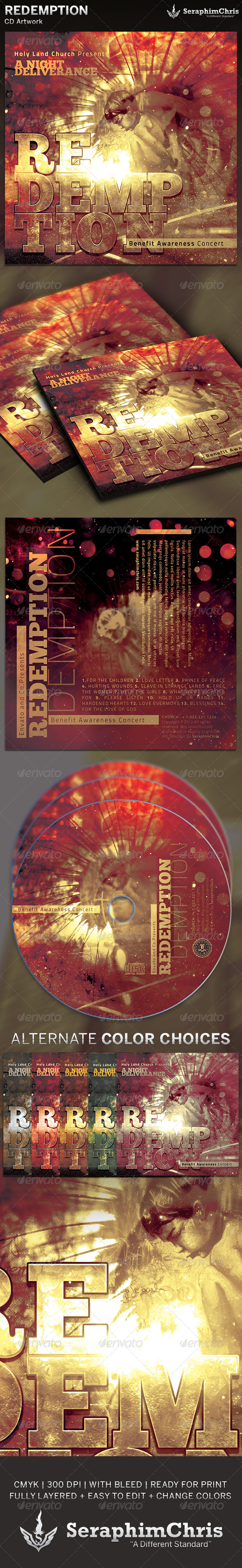 Redemption Benefit Concert: CD Artwork Template - CD &amp; DVD artwork Print Templates