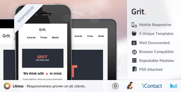 ThemeForest Grit Responsive E-mail Templates 4663645