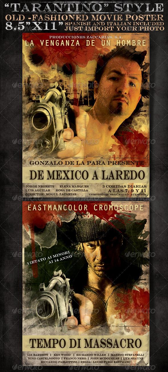 GraphicRiver 8x5 x11 Mexican and Italian Desperado Film Poster 489613
