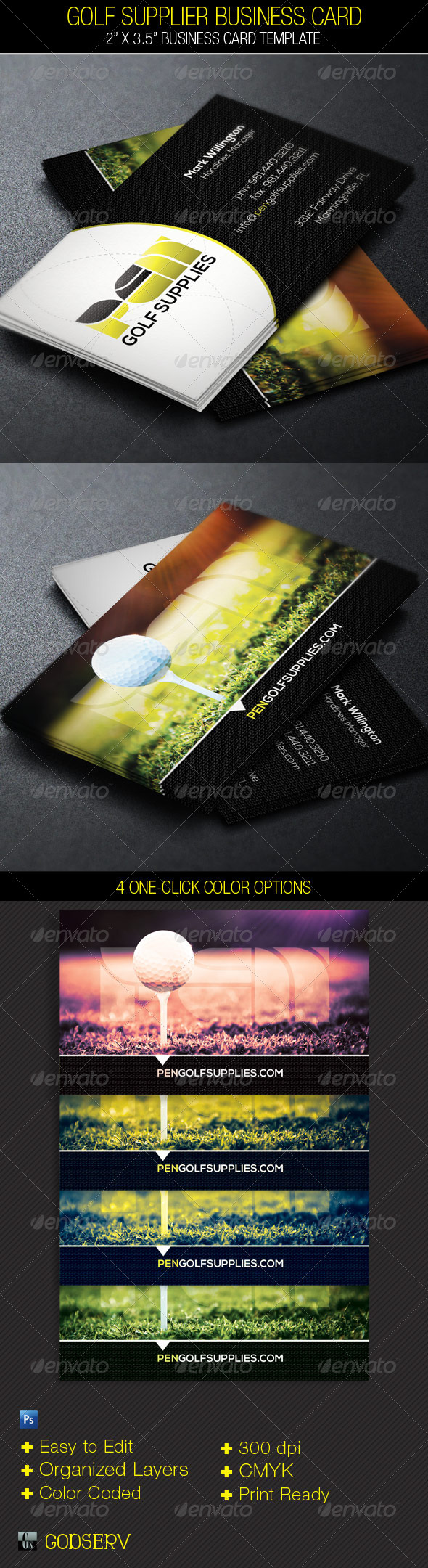 Golf Supplier Business Card Template - Industry Specific Business Cards
