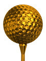 golf ball gold on tee - PhotoDune Item for Sale
