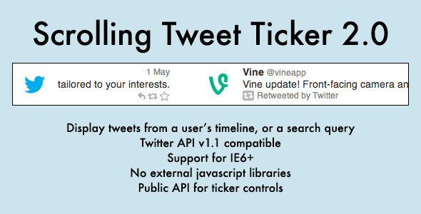 Scrolling Tweet Ticker - CodeCanyon Item for Sale