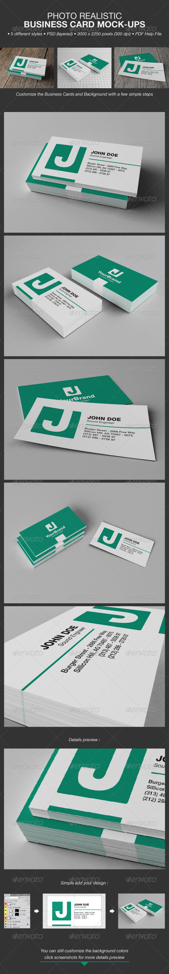 Photo Realistic Business Card Mock-Ups - Business Cards Print