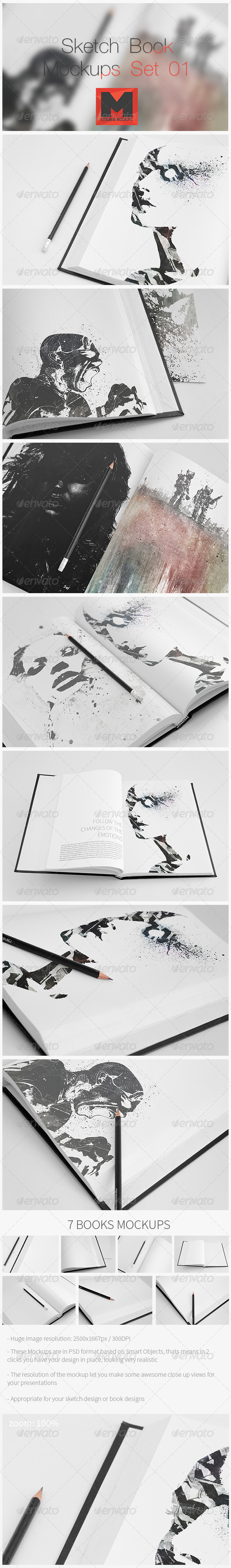 Sketch Book Mock-Ups - Set 01 - Books Print