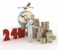 man advertises a parcel delivery service within 24 hours worldwide - PhotoDune Item for Sale