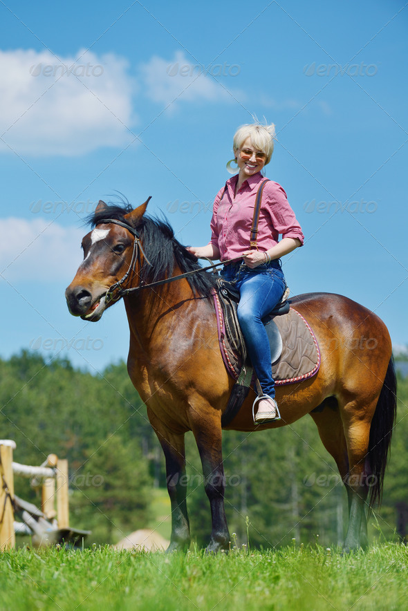 happy woman  ride  horse - Stock Photo - Images