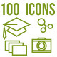 100 Outlined Icons - GraphicRiver Item for Sale