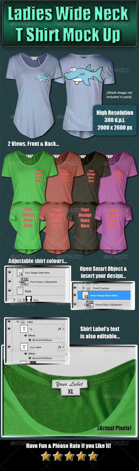 GraphicRiver Ladies Wide Neck T-Shirt Mock-Up 4683607