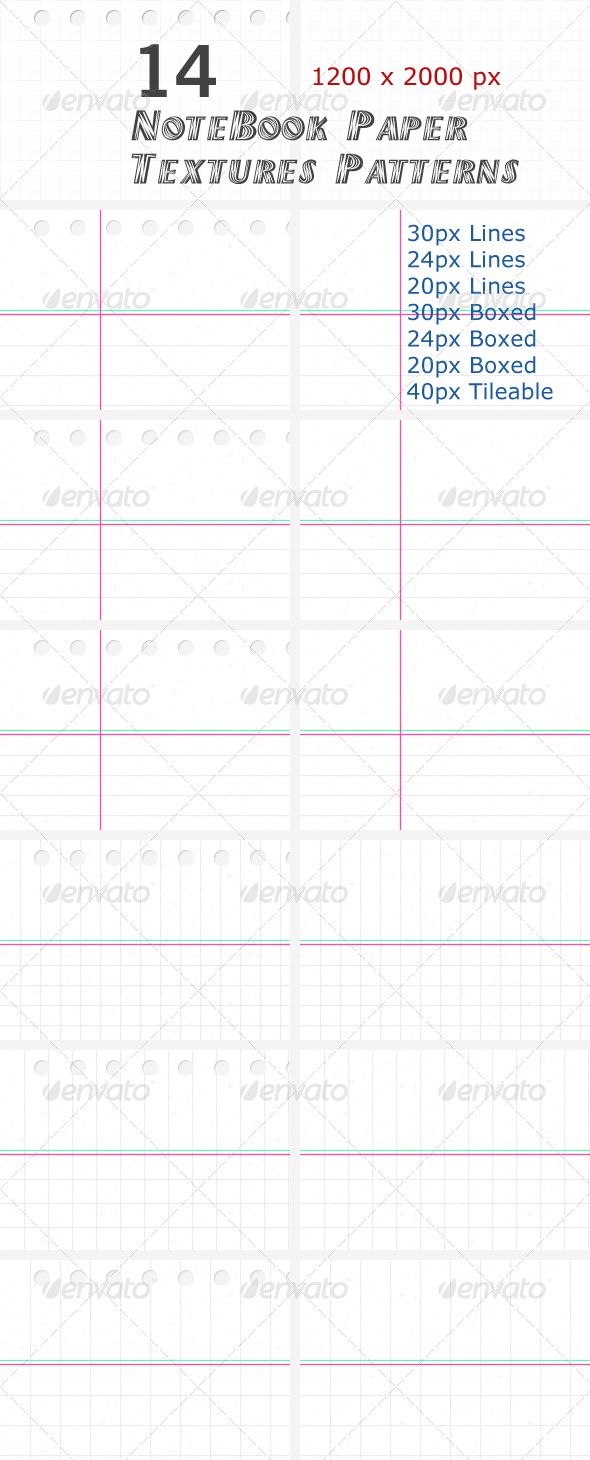 GraphicRiver 14 NoteBook Paper Textures Patterns 475807