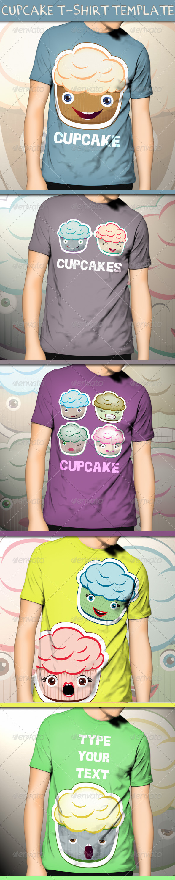 GraphicRiver Cupcake T-Shirt Template 4592455