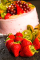 Fresh strawberries and kiwis with fruit cake - PhotoDune Item for Sale
