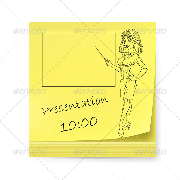 GraphicRiver Yellow Sticker with Business Woman 4690256