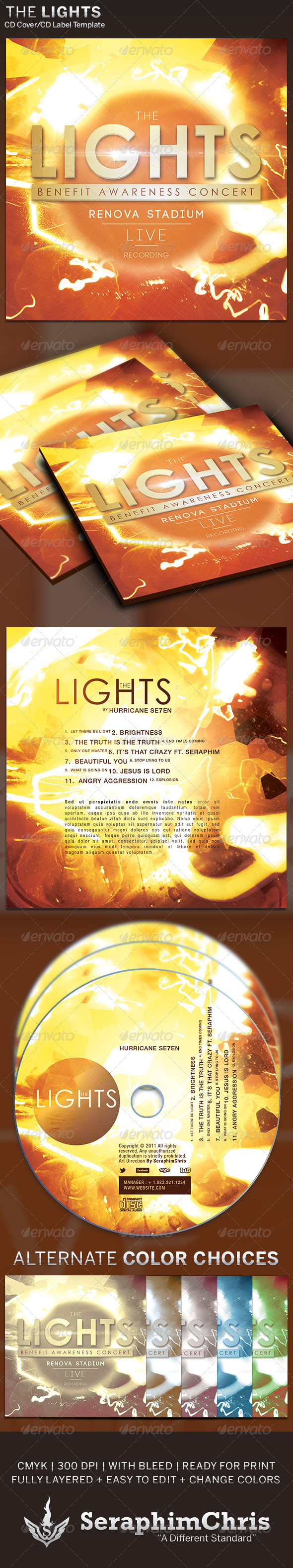 The Lights CD Cover Artwork Template - CD & DVD artwork Print Templates