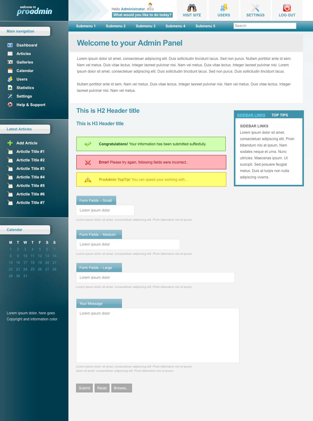 proAdmin Template