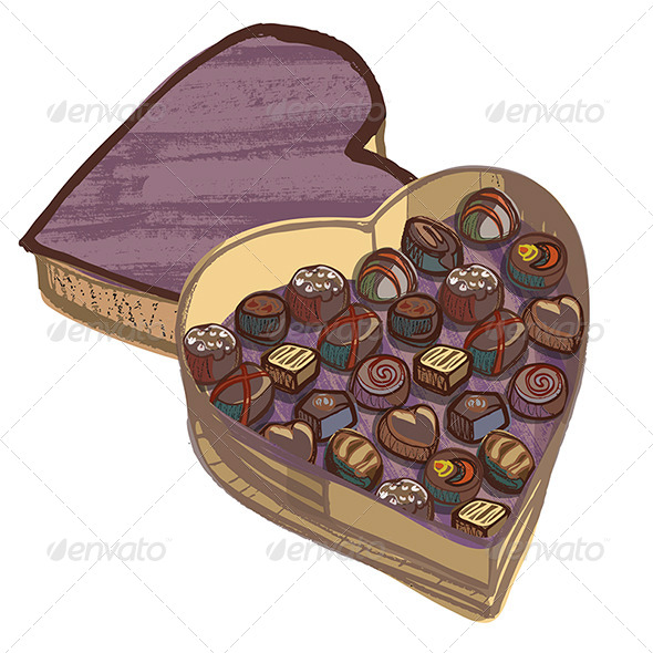 GraphicRiver Valentine Heart Chocolate Box with Various Chocolates 4693702