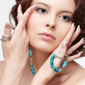 woman with teal beads - PhotoDune Item for Sale