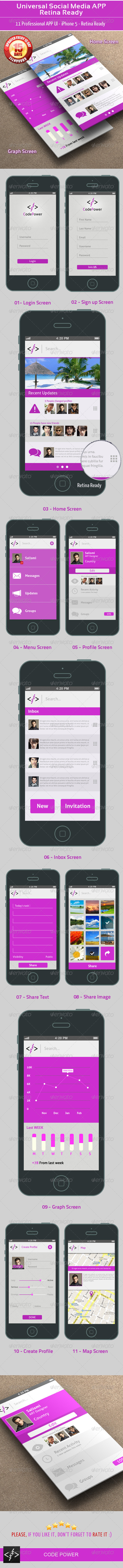 GraphicRiver Universal Social Media UI APP Retina Ready 4657232