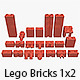 Lego Bricks 1x2 - 3DOcean Item for Sale