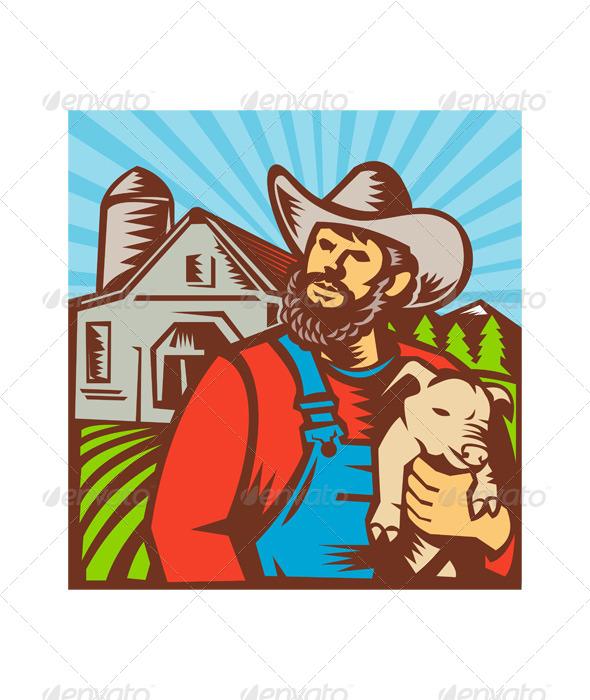 GraphicRiver Pig Farmer Holding Piglet Barn Retro 4696294