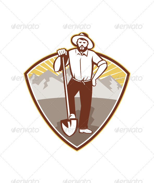 GraphicRiver Gold Digger Miner Prospector Shield 4696351