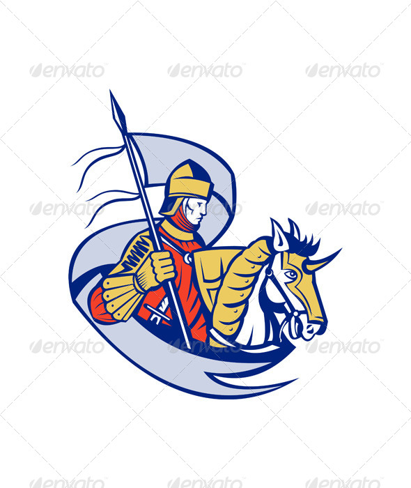 GraphicRiver Knight with Flag Shield Horse Retro 4696353