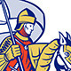 Knight with Flag Shield Horse Retro - GraphicRiver Item for Sale